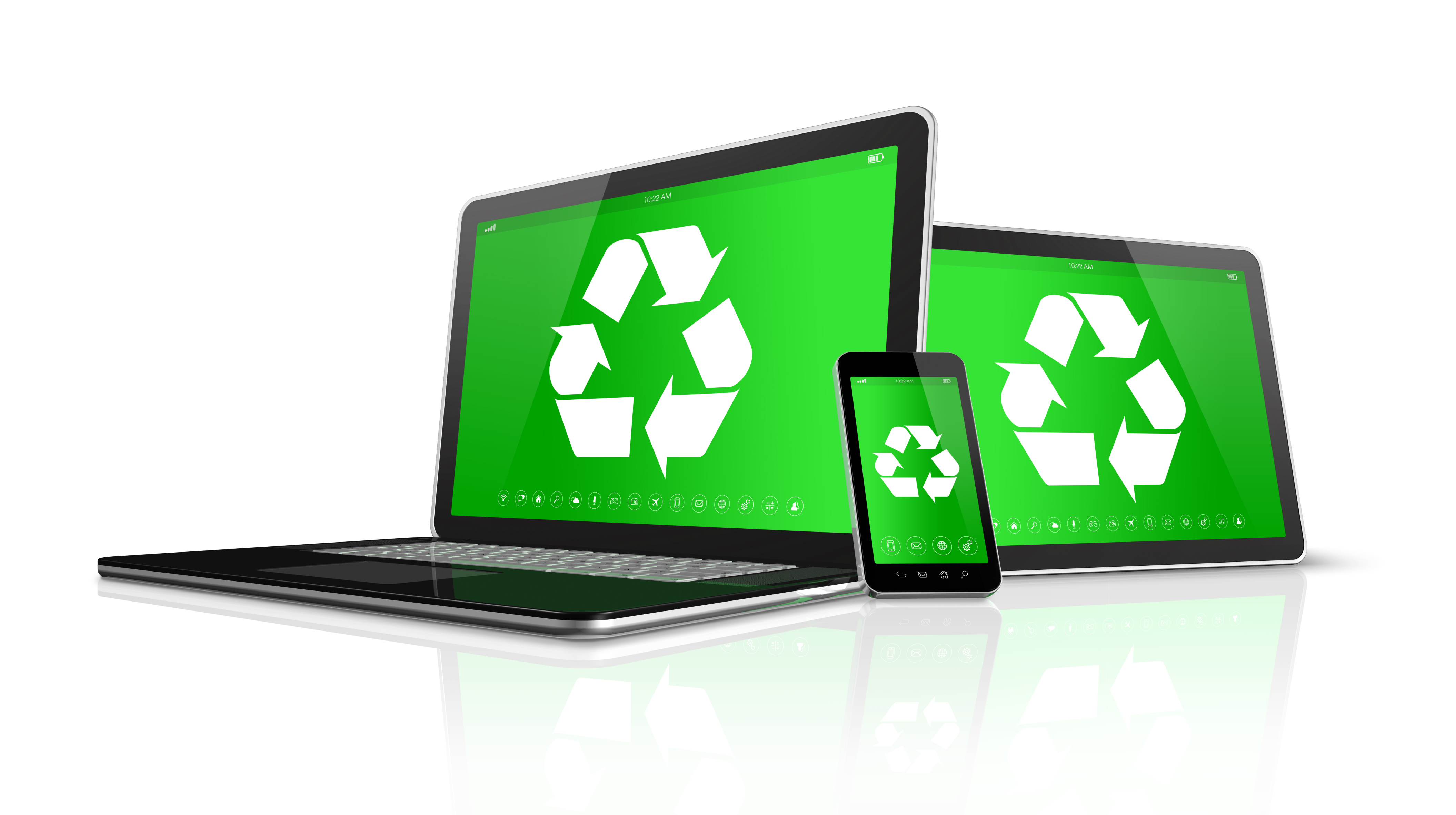 Laptop tablet PC and smartphone with a recycling symbol